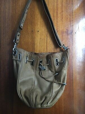 Mimco Tan Leather Cocoon Bucket Bag