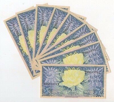 i36 Indonesia 5 Rupiah 1959 P-65 Consecutive 10 Banknotes Paper Money Currency