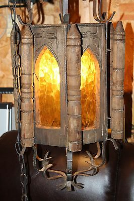 Vintage Cast Iron Gothic Medieval Swag Light Lamp Hanging Chandelier Wood Glass