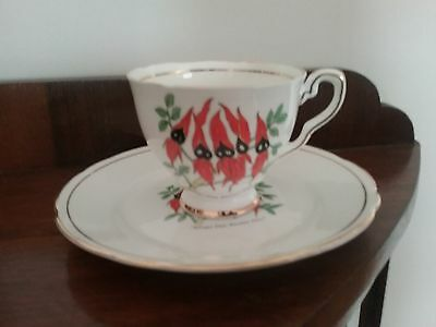Royal Stafford 'Sturt Pea' Mis-match cup and plate