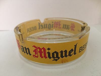 RARE San Miguel Beer Clear Glass Ashtray with Yellow Painted Logo Tobacciana