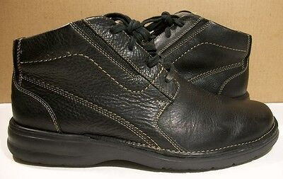 Clarks Winnetka Black Pebble Leather Lace Up Comfort Ankle Boots 10M 82298