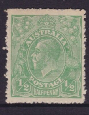 AUSTRALIA KGV 1/2d Yellow Green SINGLE WMK MINT/MH SG 20c CV$28  (DG53)