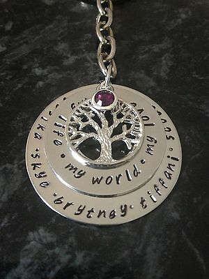 Hand Stamped Personalised 2 Stack Family Name Keyring Or Necklace. Custom Made.