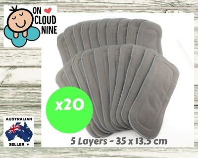 20x 5-Layer Inserts Reusable Bamboo Charcoal Liners for Baby Modern Cloth Nappy