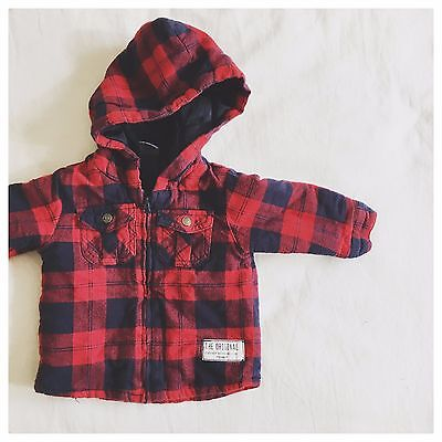 Target Baby Boys Sz 00 Winter Jacket Coat Red Blue Thick