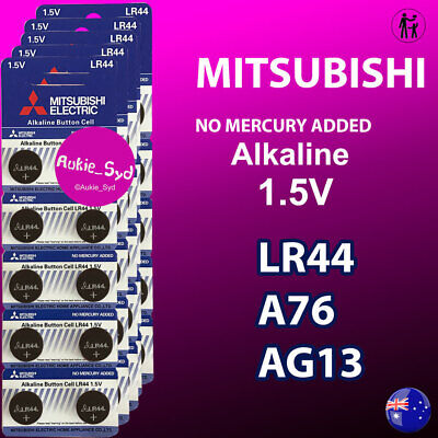 50~20~10~6 x Genuine Mitsubishi LR44 Batteries A76 AG13 Button Cell 1.5V Battery
