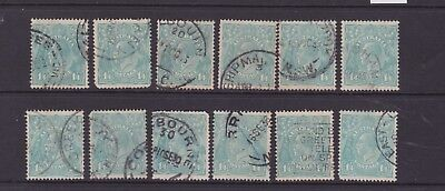 AUSTRALIA KGV 1/4 GREEN/ TURQUOISE SHADES X12 LOT CofA WMK USED (DF89A)