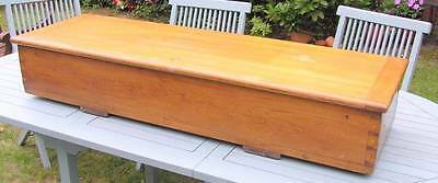 Large Antique Pine Solid Wood Blanket Box Chest Trunk Storage Sword Chest