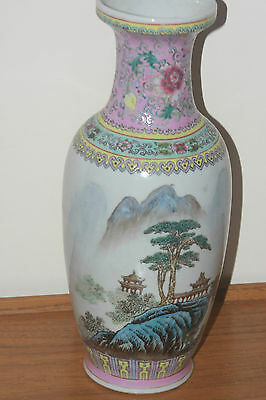 Chinese 20 Century Hand Painted Famille Rose Vase
