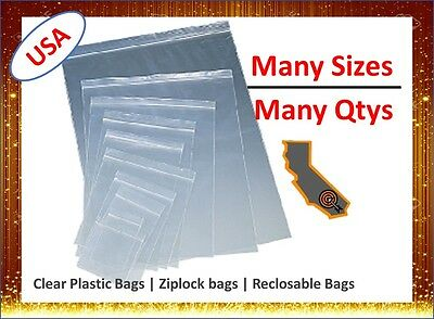 Mini 2x3 - Large 24x24 Clear Seal Zip Lock Reclosable Top Poly Plastic Food Bags