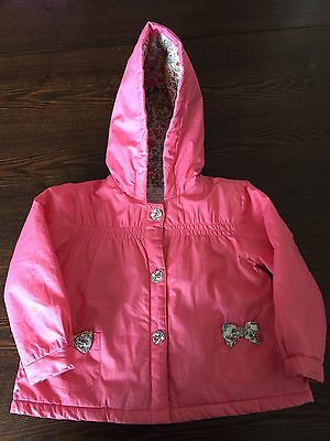 Next Baby Girl Pink Winter Hooded Jacket - Size 12-18 Months