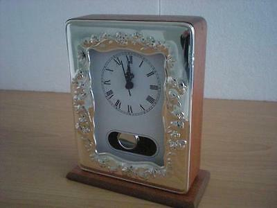 SOLID STERLING SILVER TABLE PENDULUM CLOCK 954/9×13 GB new