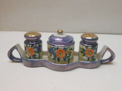 Vintage TT Salt & Pepper Shakers w/ Mustard Bowl and Tray Made in Japan