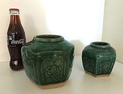Lot 2 c1850s CHINESE GREEN CELADON GOLDFIELDS GINGER JARS Large & Small