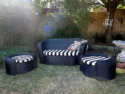 3 piece Wicker Sun Lounge Suite Daybed chair~chaise cane Style~Outdoor~Indoor