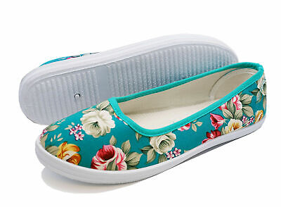 Womens Flat Green Canvas Slip-On Plimsoll Pumps Comfy Dolly Floral Shoes Uk 3-8