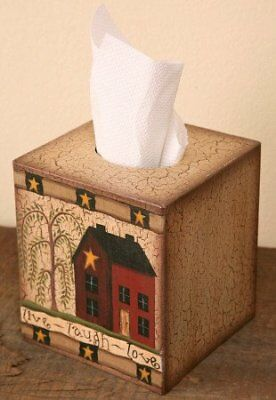 Tissue Box Cover - Primitive House / Home with Weeping Willow Tree and Saying