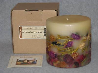 "Longaberger Inclusion Candle Botanical Fields Pillar Candle 4""X4"" #71171 USA NIB"