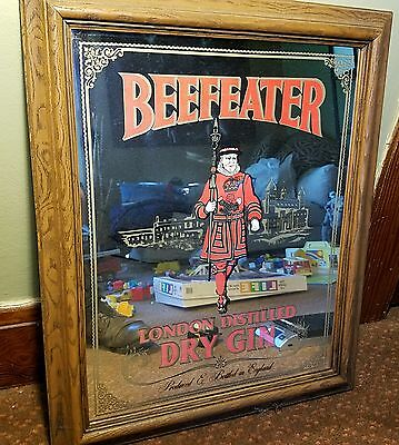 Vintage Beefeater London Distilled Dry Gin Framed Bar Mirror Ad 24 x 20 MAN CAVE