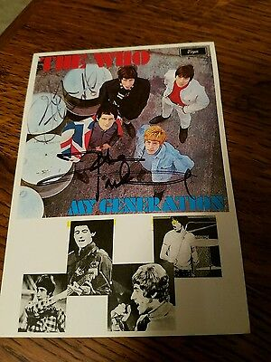 The Who Signed My Generation John Entwistle Pete Townshend Postcard 4x6 Moon