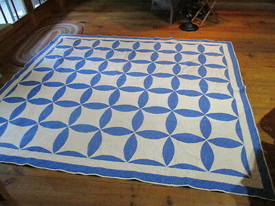 "Antique Blue And White Quilt--82""x74""--Machine Quilted"