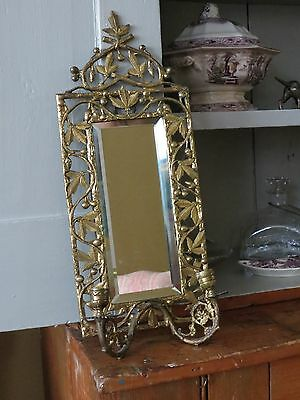 BRASS CANDLE SCONCE Ornate w/Beveled Plate Glass Mirror