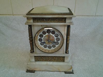 "Antique French Marble Mantel Clock ""convex Glass"" (Needs Attention)"