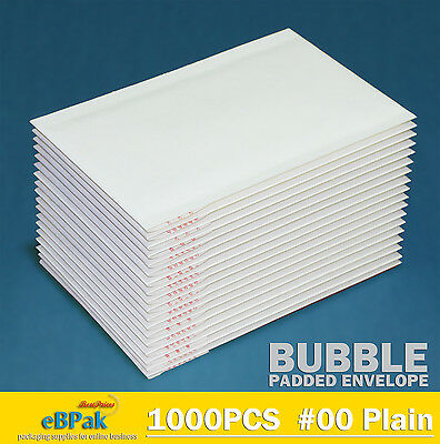 1000x  Bubble Envelope#0 White Plain Blank 100x180mm Padded Bag SIZE 00 Mailer