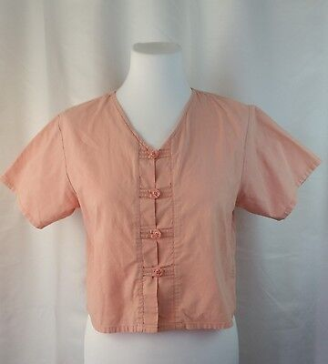 Vintage 1980s Cotton Ginny Medium Cropped Top Pale Pink Button Up Short Sleeves