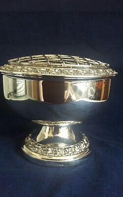 Large Vintage Silver-Plated Rose Bowl with wire basket Made in England by IANTHE
