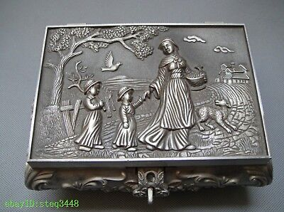 Chinese folk collection miao silver jewellery box carved angel mother and child