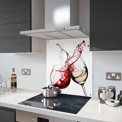 Red and White Wine Glass Splashback Fixing Holes - 70cm Wide x 75cm High