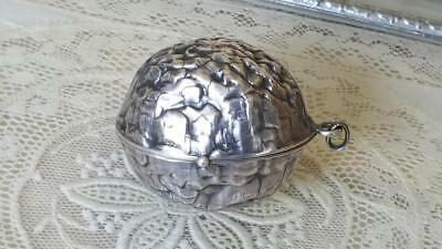 Antique STERLING Combo Compact / Perfume Bottle / Pendent/ Locket figural Walnut