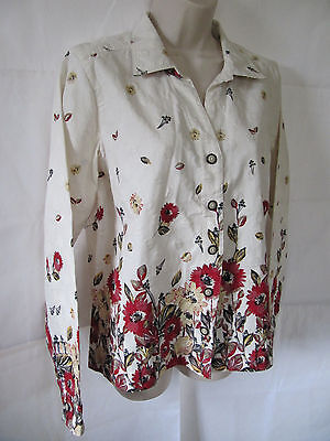 Christopher & Banks Ivory with Red Floral Blazer Jacket Size L, Large EUC
