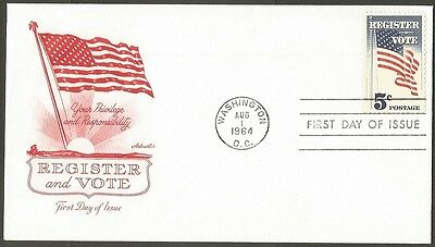 Us Fdc 1964 Register And Vote 5C Stamp Artmaster First Day Of Issue Cover
