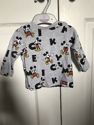 DISNEY Baby Boy Mickey Mouse Top 0-3 Months Excellent Condition
