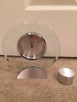 DANBURY, SILVER TONED  QUARTZ CLOCK And Silver Matching Paper Weight