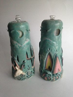 Vintage Art 2 Wax Candle Holders for Tealights Handcrafted Southwestern Decor