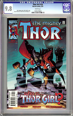 THOR v2 #33 CGC 9.8 WHITE PAGES THOR GIRL 2001