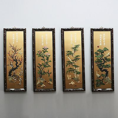 "4 Vintage 39"" x 14"" Japanese Four Seasons Carved Wall Art Panel Plaque Bird Deer"