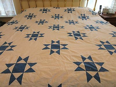 Vintage Hand Stitched Quilt Top Americana White W/ Blue Stars