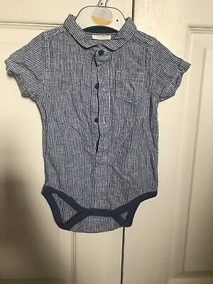 NEXT Baby Boy STRIPED Shirt With Popper Vest Fastenings 6-9 Months Excellent Con