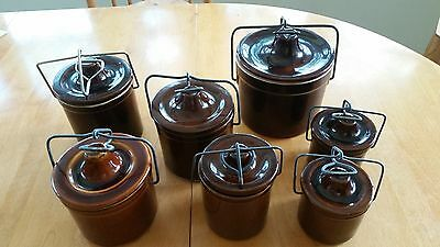 Vintage Ceramic container Set,  metal clip top