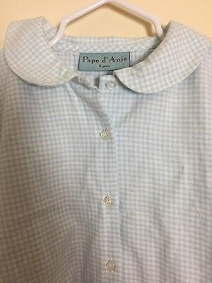 PAPO D'ANJO Girl's Sz 8 Years Blue White Gingham Peter Pan Collar Blouse Top M10