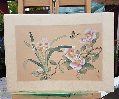 Flowers Butterfly Vintage Oriental Painting On Silk Character Marks