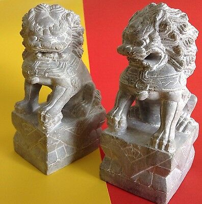 Finely Carved Marble or Stone Chinese Fu Foo Temple Dog Lion Statue Bookends