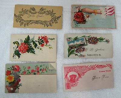 Lot 6 Real Victorian Calling Cards Florals Dog Face Colorful Florals Hand A3-4