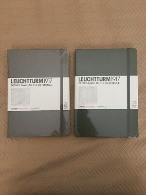 (2 PACK) Leuchtturm 1917 Medium Hardcover A5 Notebook Squared Pages (A5)