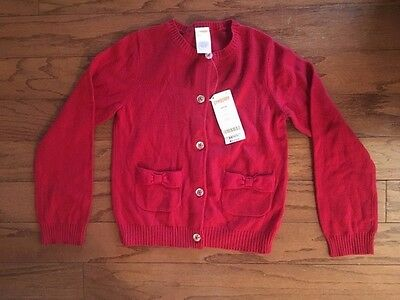 Gymboree Girl's Red Holiday Christmas Sweater Sparkle Buttons NWT  5-6 Medium